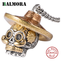BALMORA 100% Real 925 Sterling Silver Skull Pendants Wearing a Hat for Necklaces Men Accessories Skull Cool Jewelry SY12423