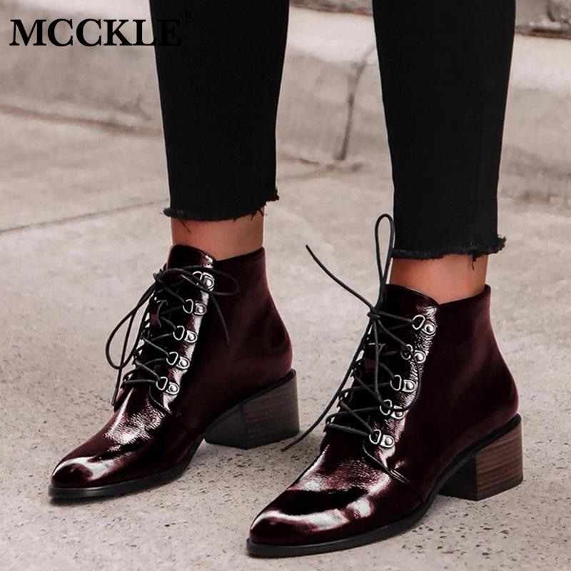 MCCKLE Women Pointed Toe Ankle Boots Patent Leather Spring Lace Up Ladies Boots Female Square Heels Retro Shoes Woman Footwear