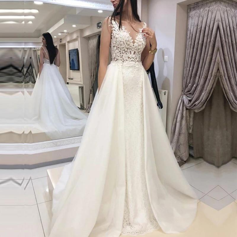 2020 New Wedding Dresses A-line O Neck Bridal Gown Lace Appliques Sexy Sleeve Backless Vestidos De Noivas Floor Length