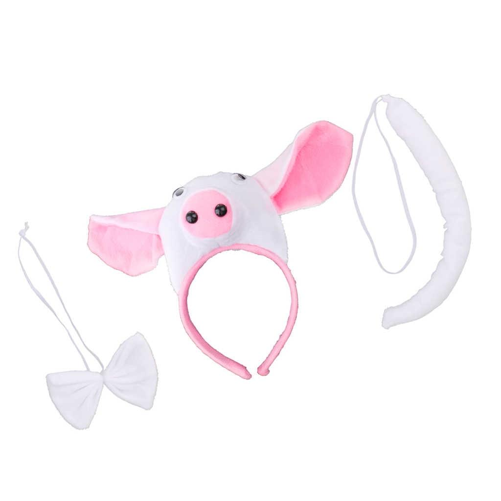 خنزير الحيوان زي عصابة رأس ربطة القوس فيونكة الذيل حديقة الحيوان أصبع فستان بتصميم حالم اكسسوارات