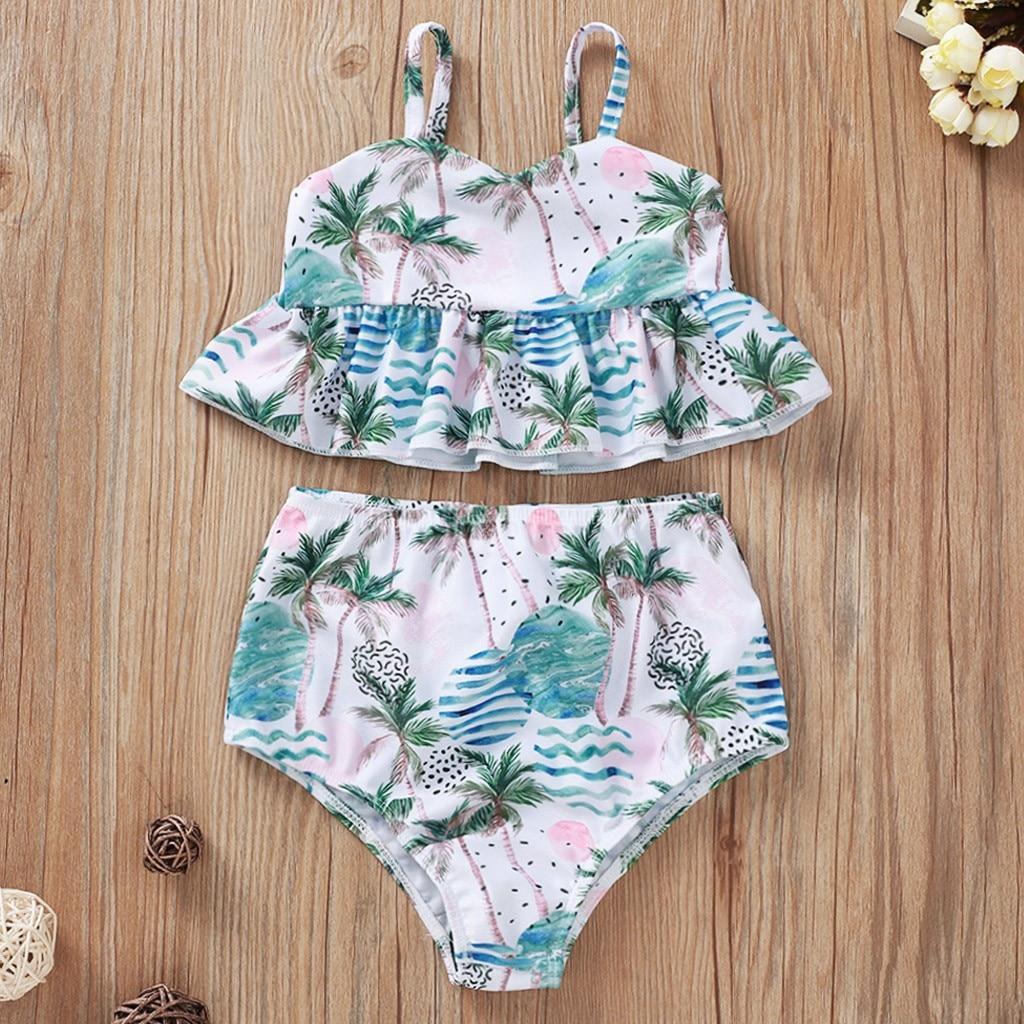 Girl Child Summer Suspenders Tropical Rainforest Coconut Flower Print Swimsuit Set купальник слитный