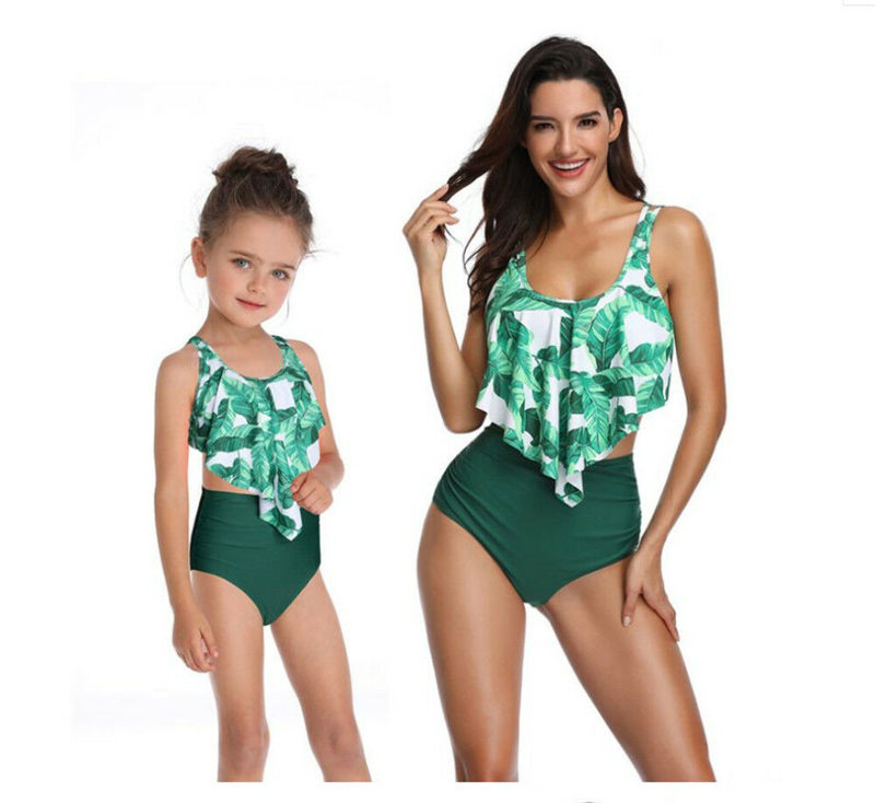 Family Matching Swimsuit Outfit Beachwear Tankini Girls Kids Women Summer Floral title=