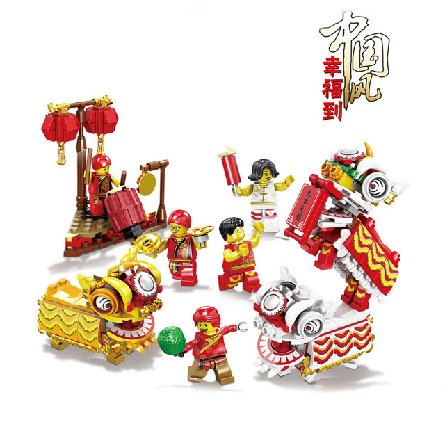 2020 Chinese New Year'S Eve Dinner Lion Dance Dragon Dance Archway Street Building Blocks Temple Bricks Toys for Children