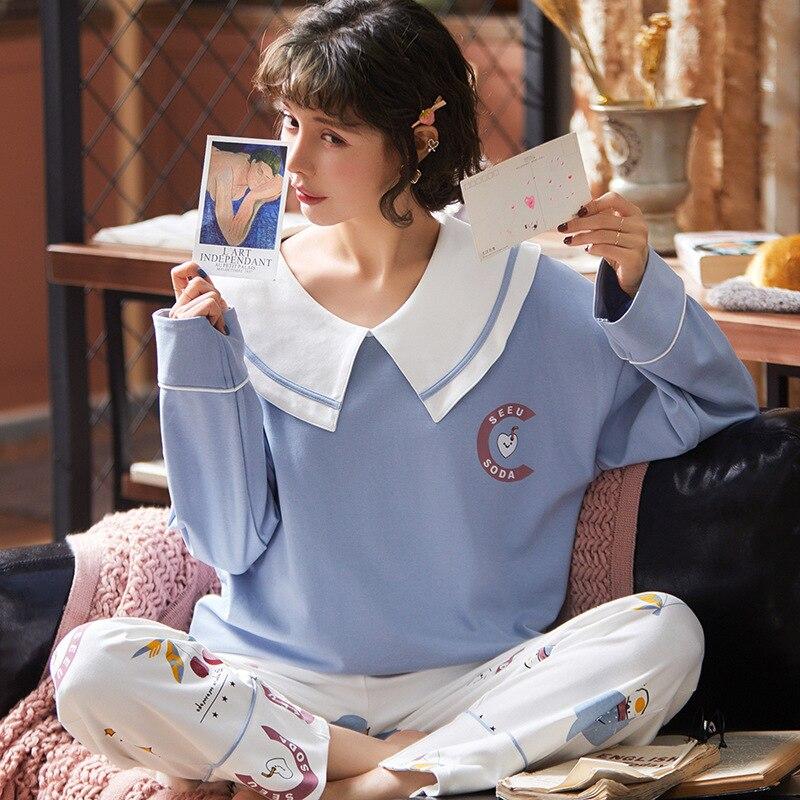 New Cute Nightwear Kawaii Pajama Sleepwear Pajama Suit  Long Sleeve Print Autumn Winter Turn-down Collar Home Clothes For Women