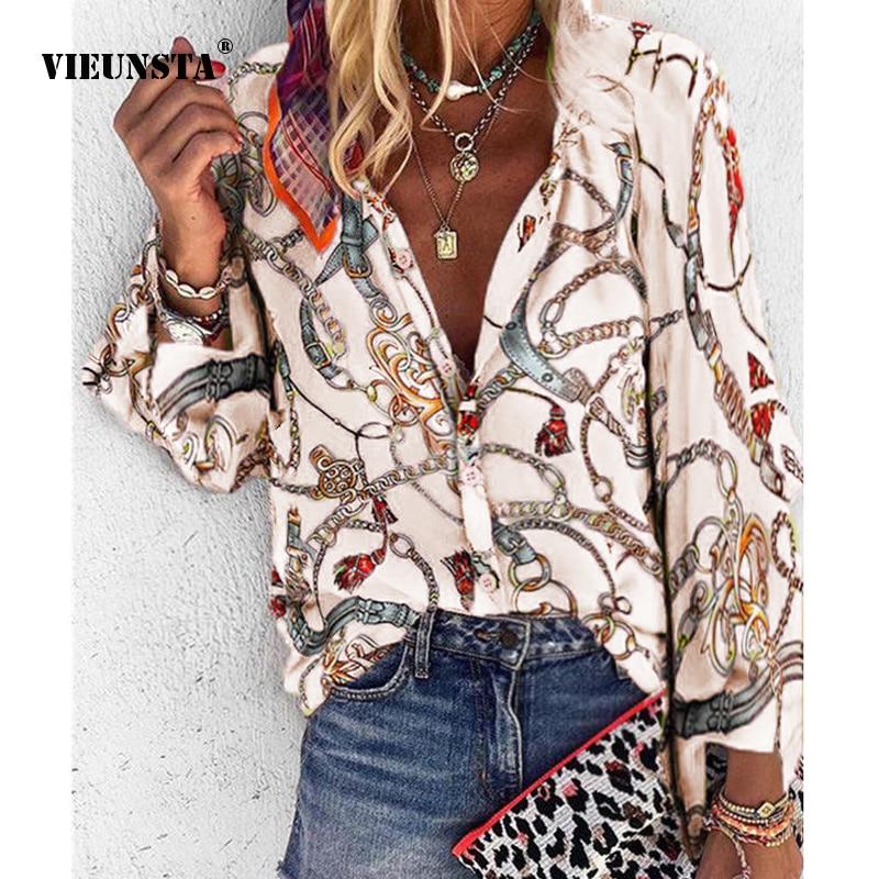 VIEUNSTA Women Sexy V-Neck Button   Blouses     Shirt   Chains Print Chiffon   Blouse   Tops Elegant Office Lady Long Sleeve Blusa Plus size