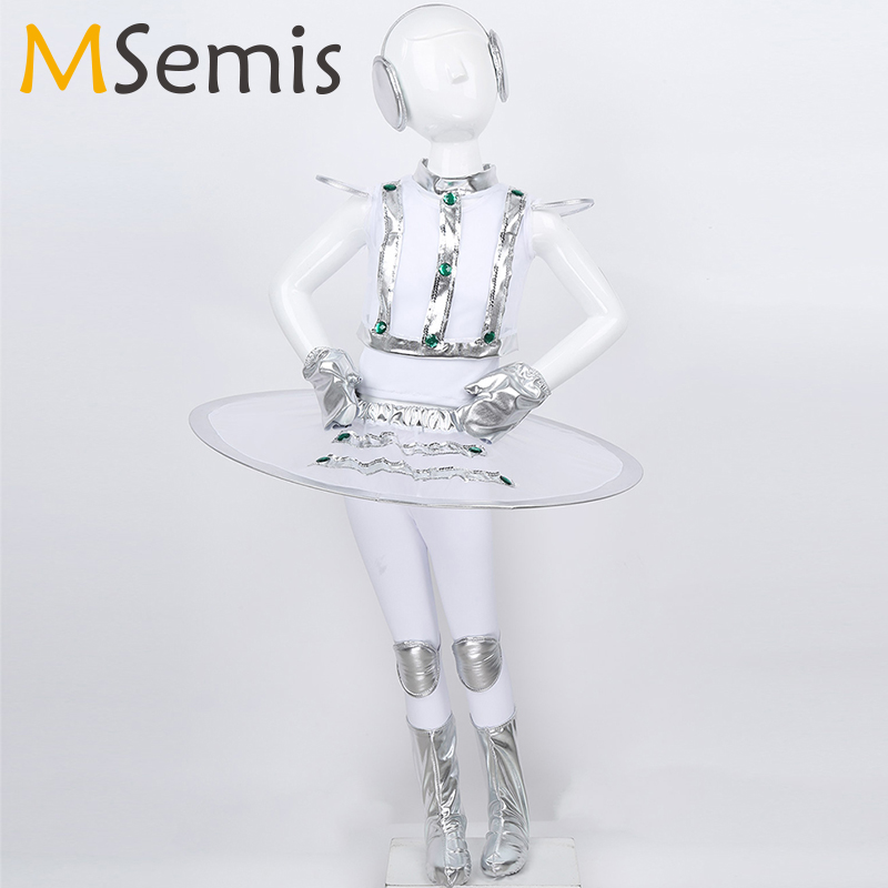 Girls Space Astronaut Dance Costume Kids Children Robot Costume Dancewear Stage Performance Rave Outfit Space Astronaut Cosplay