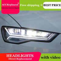Diseño de coche para Audi A6 faros 2012-2018 para Audi A6 Barra de luz LED Q5 Bi xenón lente proyector bombilla LED