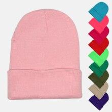 Однотонная шапка унисекс, осенне-зимняя шерстяная шапка, мягкая теплая вязаная шапка для мужчин и женщин, шапка с черепом, шапки, лыжная Кепка Gorro, шапки, 28 цветов
