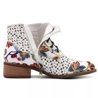 Mode Style chinois femmes bottines imprimer fleurs à talons hauts dames chaussures femme fête danse pompes de base en cuir bottes filles