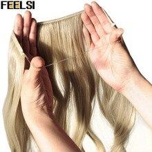 FEELSI, 20 дюймов, невидимая проволока, без зажима, одна штука, Halo, накладные волосы, накладные волосы, синтетические волосы для женщин