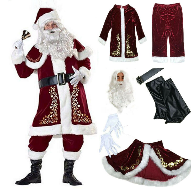 Santa Claus Suit Adult Deluxe Velvet Christmas Costume Fancy Dress Full 9PCS Set