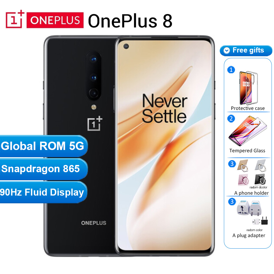 "Global ROM Oneplus 8 5G Mobile Phone 12GB 256GB /8GB 128GB 6.55"" 90Hz Snapdragon 865 48MP 30W 4300mAh NFC 5G Smartphone"