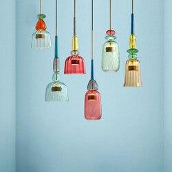 Nordic Color Candy Pendant Lights modern Living Room Bedroom Children's Room Single Head Glass Hanging Lamps Home Decor Fixtures
