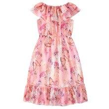 Girls dresses Summer flowers print Princess Dress Butterfly print Chiffon Dress Children's beach dress 3 4 5 6 7 8 9 10 11-13T