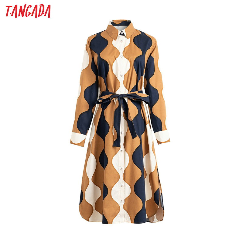 Tangada 2020 Fashion Women Wave Print Shirt Dress With Slash Long Sleeve Ladies Work Midi Dress Vestidos 4T21