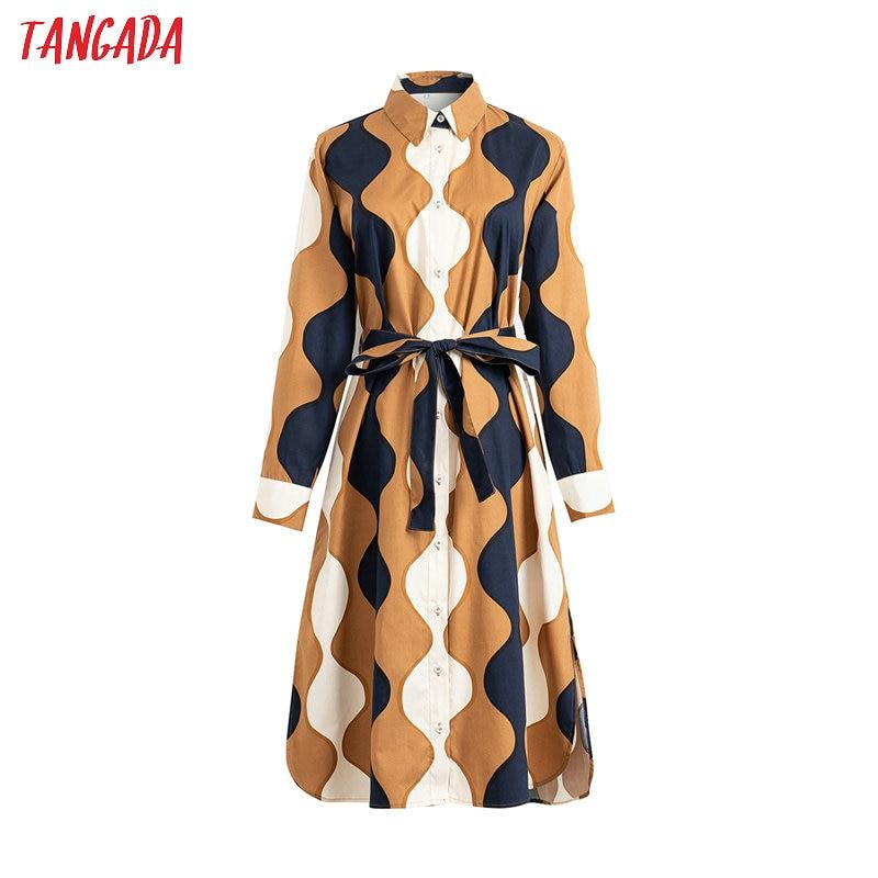 Tangada 2020 Fashion Women Wave Print Shirt Dress With Slash Long Sleeve Ladies Work Midi Dress Vestidos 4T21