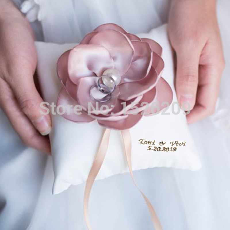 customize name handmade romantic flower wedding ring pillow pearl ring bearer pillow for wedding rings white