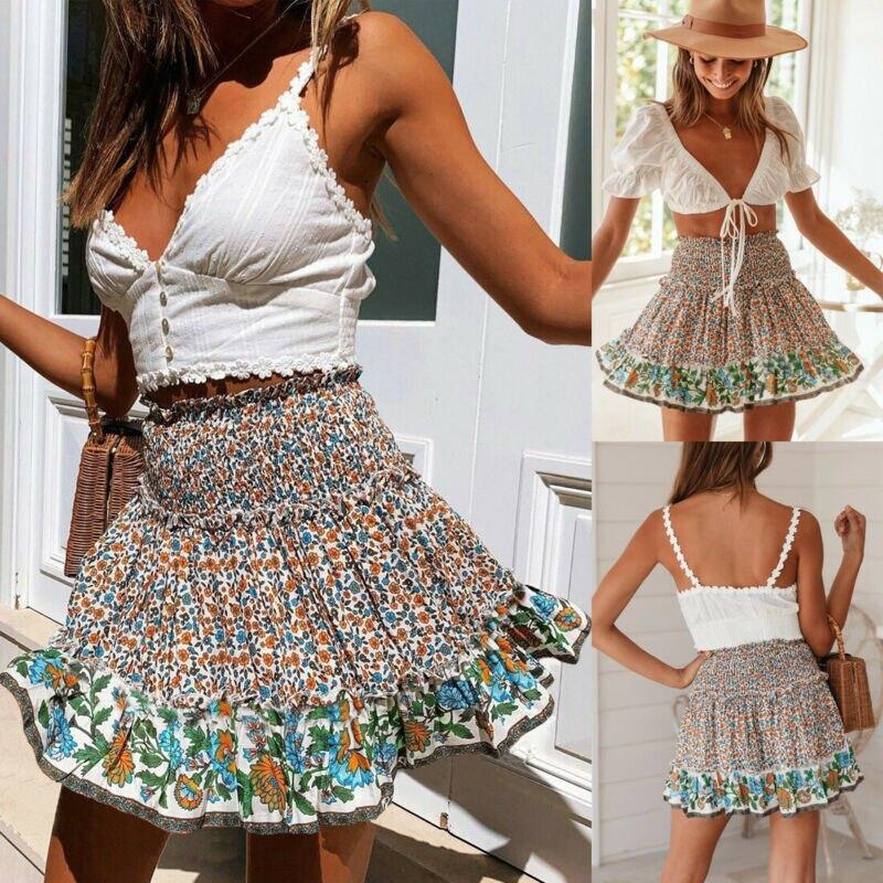 Boho Women Mini Flowers Skirts Elastic High Waist Wrinkle Ruffled Mini Skirts Summer Fashion Ladies Lace Frill Skirts A-Line