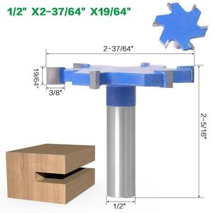 """Image 2 - SHERUI 1pc 1/2"""" Shank 12mm shank 6 Edge T Type Slotting Cutter Woodworking Tool Router Bits For Wood Industrial Grade Milling Cu"""