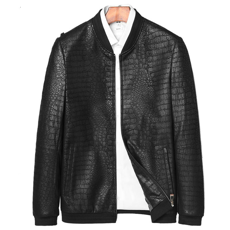 Jackets Crocodile-Pattern Coats Sheepskin Genuine Brand Fo Men Fashion