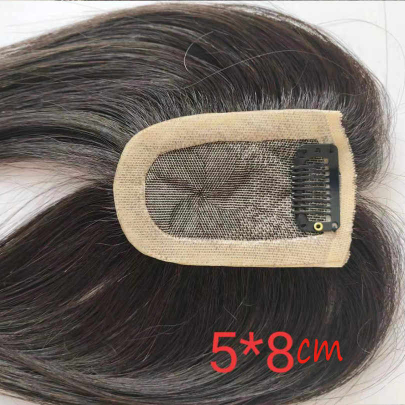 Bymc 5*8 toupee hair for women hair topper pu 실크베이스 인 인간의 머리카락 클립 natural color 130% volume extension
