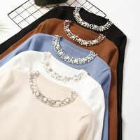 2020 nuevo Otoño Invierno mujeres temperamento suéteres y jerseys de manga larga casual perla suéter Delgado Jersey de punto