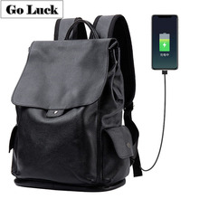 GO-LUCK Brand Black Genuine Leather Computer Laptop Backpack Men's Casual Travel Day Packs Student School Bag USB Charger Slot
