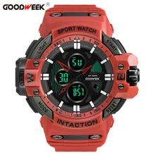 GOODWEEK Multi-function Military Man Sport Watch Waterproof Shock Resitant Led Digital Dual Display Watches Reloj Hombre