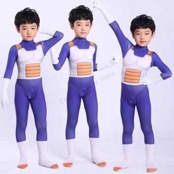 Anime  Vegeta Cosplay Costume Kids Adult Super Saiyan Blue Battle Spandex Jumpsuit Halloween For Kid
