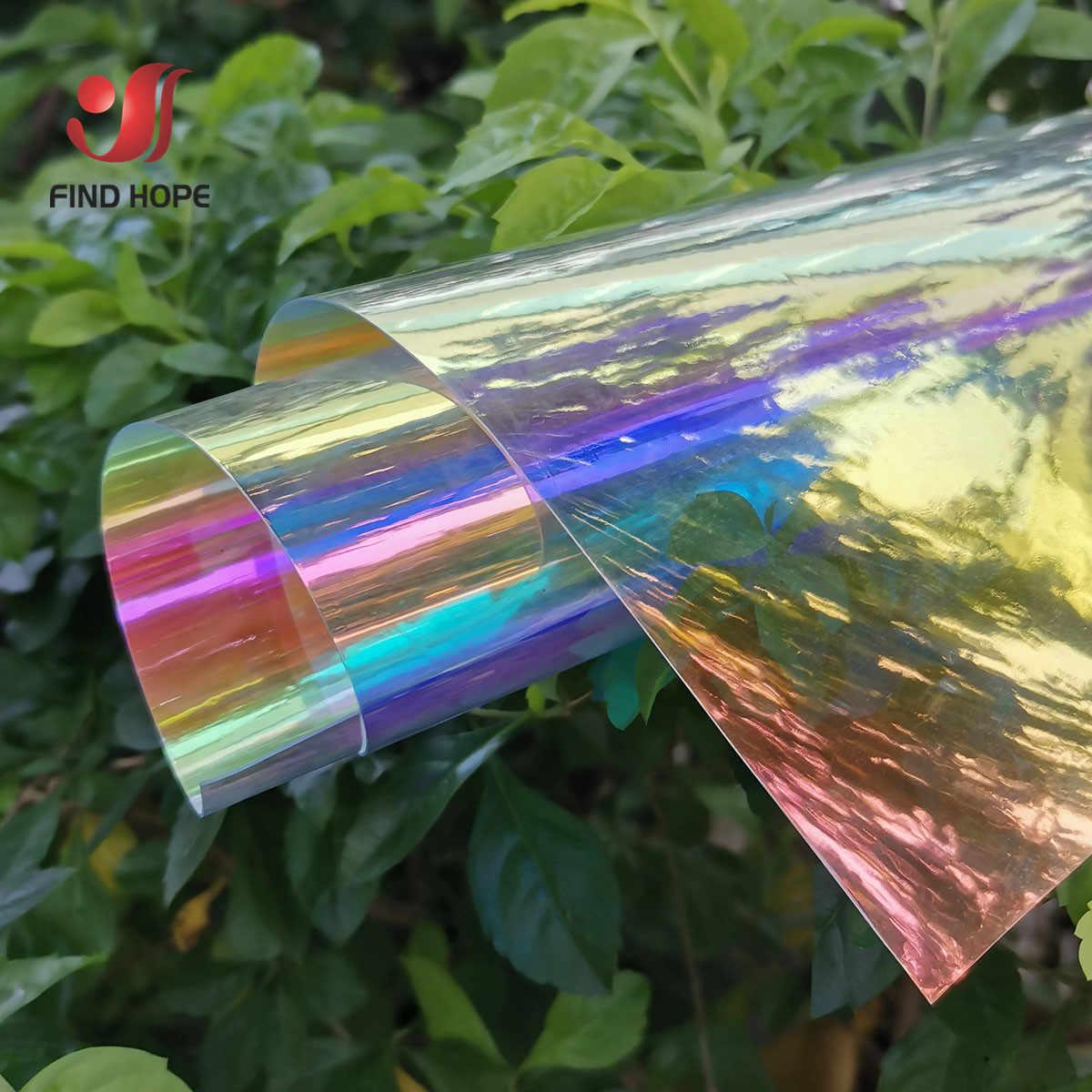 Láser iridiscente holográfico película transparente PVC tela láser Arco Iris brillante Material de vinilo arco bolsa artesanal