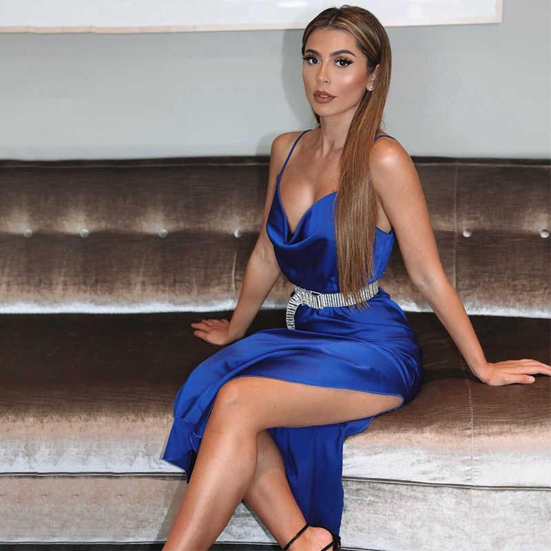 ผู้หญิงเซ็กซี่ผ้าไหมซาตินสลิง 2020 High Street Lady Strappy ยาวชุดราตรี V คอสูง Slit Sundress