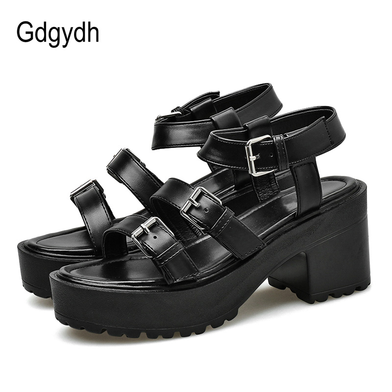 Gdgydh Fashion Buckle Gladiator Sandals Women High Heels Sandals Chunky Heel Comfortable Summer Shoes Ankle Strap Gothic Black