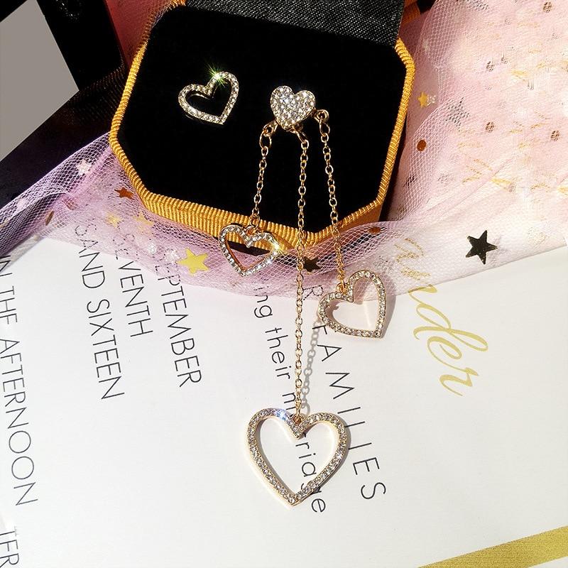 2019 Fashion Golden Silver Color Butterfly Love Tassel Crystal Long Earrings For Women Simple O Word Chain Tassel Jewelry