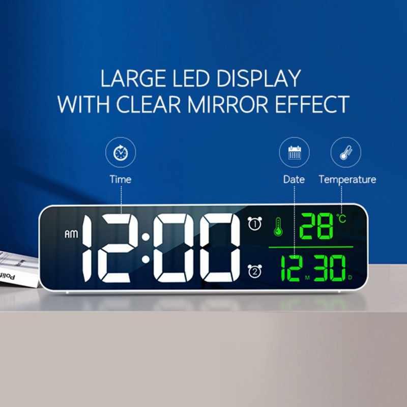 LED דיגיטלי שעונים מעורר עם נודניק טמפ זמן מוסיקה כפולה שעון תכליתי USB מטען גדול ספרות תצוגת בהירות דימר