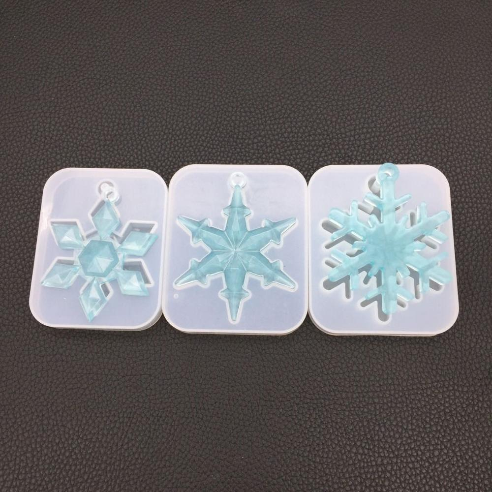 Christmas Snowflake Ornament Silicone Mold Soft Clear Mould For UV Resin Craft Winter Embellishment DIY Pendants Jewelry Making