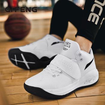 2021 New Arrival wysokie buty do koszykówki białe odporne na zużycie młode profesjonalne praktyczne męskie buty sportowe czarne letnie zimowe tanie i dobre opinie QIFENG CN (pochodzenie) Średnia (B M) Do kostki RUBBER Cotton Fabric s-6905 ELASTYCZNE Sznurowane Spring2019 Dobrze pasuje do rozmiaru wybierz swój normalny rozmiar