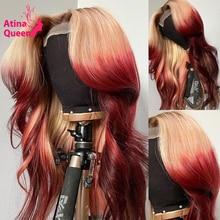 شعر مستعار طبيعي مموج ، شعر مستعار أمامي من الدانتيل ، شعر ريمي عالي الدقة ، لون 99j ، أحمر بورجوندي ، 613 ، منتف مسبقًا