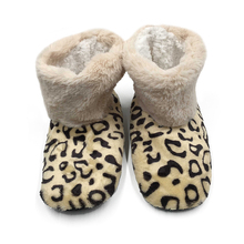 WomenS Leopard Indoor Shoes Home Non-Slip Soft Floor Women Winter Plush Boots
