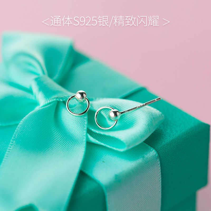 Trusta 2018 새 여성 100% 925 스털링 실버 주얼리 작은 라운드 스터드 귀걸이 Xmas Girls Gift DS56 Freeshipping