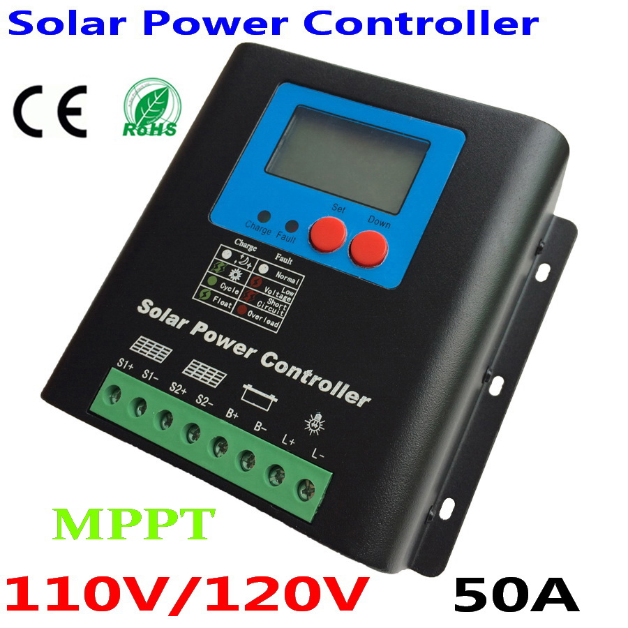 110V 120V Solar MPPT Charge Controller,110V or 120V Battery Regulator 50A for 6000W PV Solar Panels Modules, LED&LCD Display image