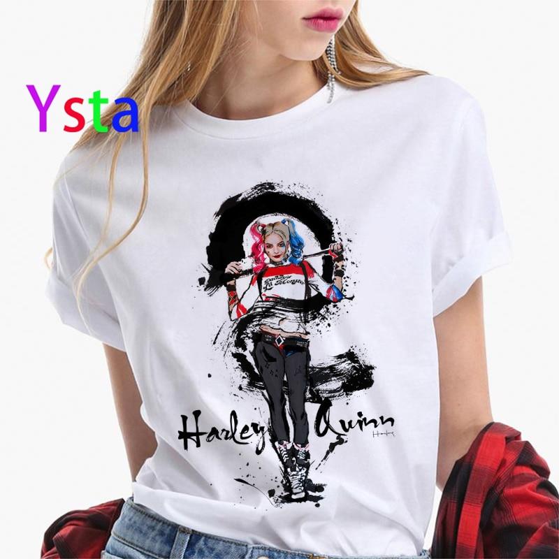 Funny Suicide Squad Joker Harley Quinn Graffiti T Shirt Women Casual Hipster Streetwear T Shirt Halloween Skull Top Tees  Female