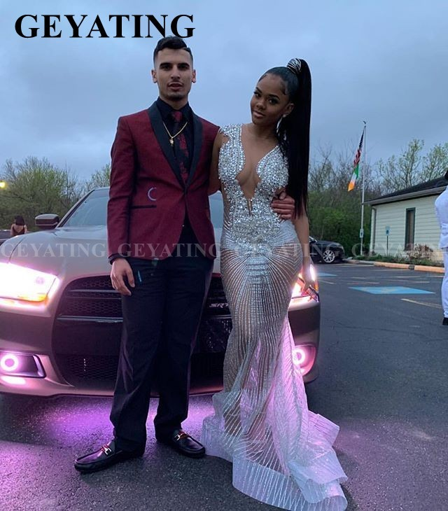 Glitter Sequin African Mermaid Silver Prom Dresses 2020 Long Black Girls Graduation Gowns Sexy V-Neck Women Formal Evening Dress