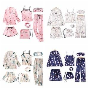 Image 5 - JULYS SONG Pink Womens 7 Pieces Pajamas Sets Faux Silk Striped Pyjama Women Sleepwear Sets Spring Summer Autumn Homewear