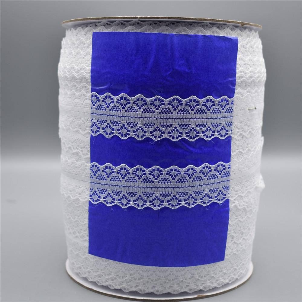 Оптовая продажа 400 ярдов/рулон белая кружевная лента ширина/28 мм кружевная отделка «сделай сам» вышитая африканская кружевная ткань Кружев...