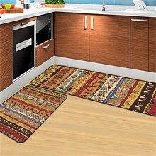 Alfombra de cocina con patrón geométrico negro verde, alfombra de cama, Alfombra de piso Floral para dormitorio, Alfombra de puerta Vintage, alfombras antideslizantes