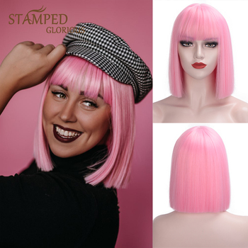 цена на Stamped Glorious Straight Pink Bob Wig With Bangs Synthetic Short Wigs for Women Heat Resistant Fiber Hair Cosplay Wig