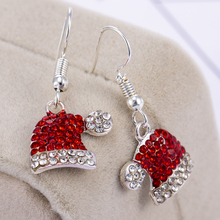 2019 Personality Natural Dangle Drop Earrings Crystal Stone Ethnic Fashion Red Hat Christmas Hanging Earrings For Women Brincos
