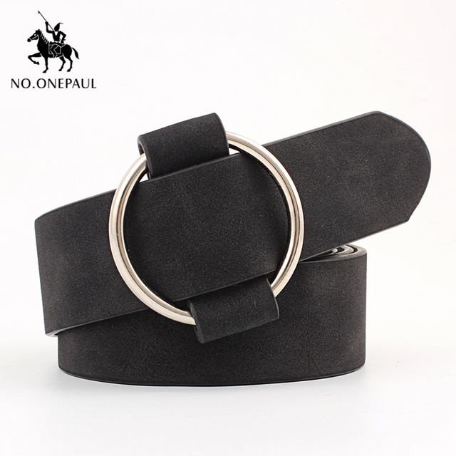 Genuine quality ladies fashion latest needle-free metal round buckle belt 2