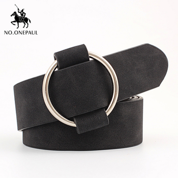 NO.ONEPAUL Genuine quality ladies fashion latest needle-free metal round buckle belt jeans wild luxury brand the women belt for 4