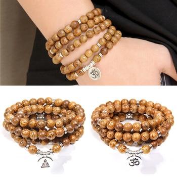 Pulsera con abalorios de madera OM Lotus para hombre y mujer, brazalete con amuleto budista tibetano, Mala, buda, rosario de Yoga, regalo de joyería